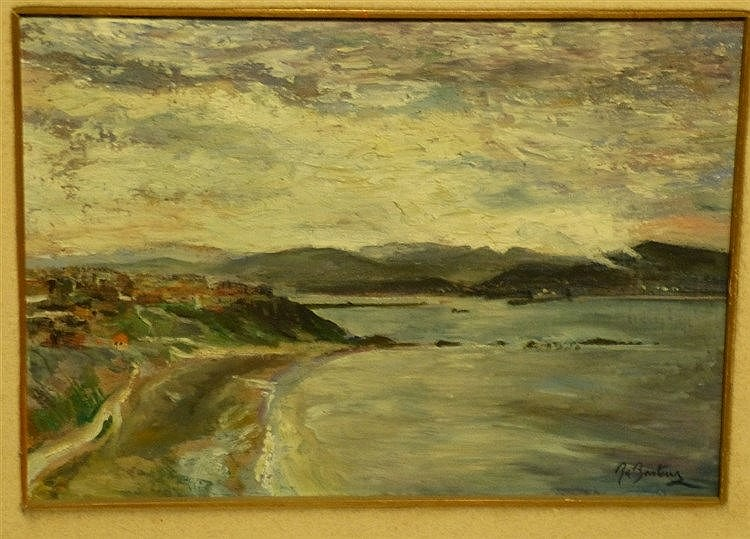 B Basteur? Oil on Board Seascape depicting houses on shoreline, i