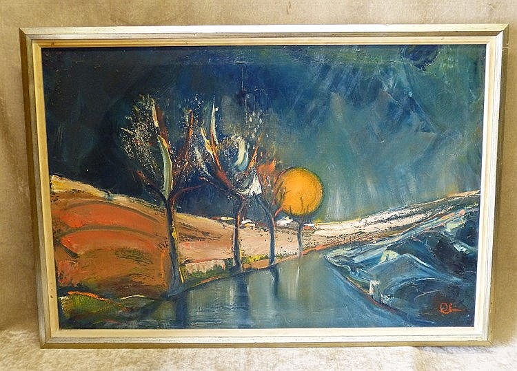 C Sena? Oil on Canvas depicting country road sunset, indistinctly