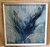 C Sena Oil on Canvas abstract, indistinctly signed, in silvered f