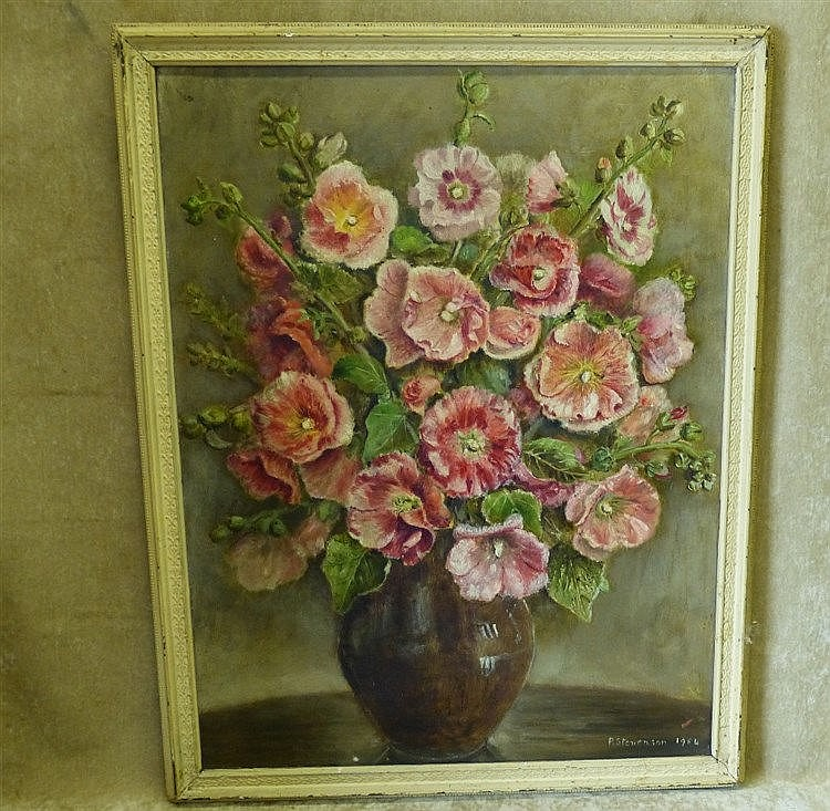 P Stevenson Oil on Canvas still life vase of flowers, signed and