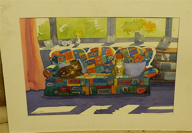 Kate Field Watercolour depicting 2 x cats seated on a multicolour