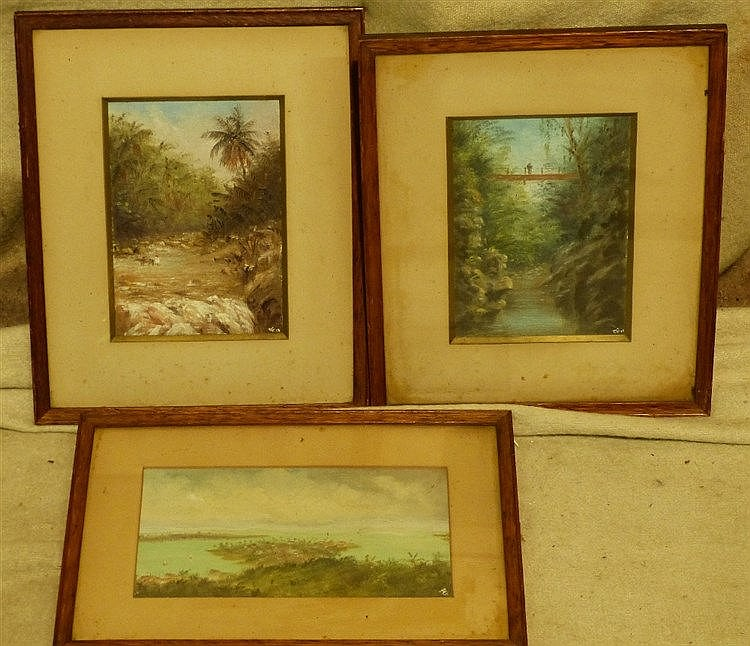 3 x Eastern Oil on Cards depicting river landscapes etc, all indi