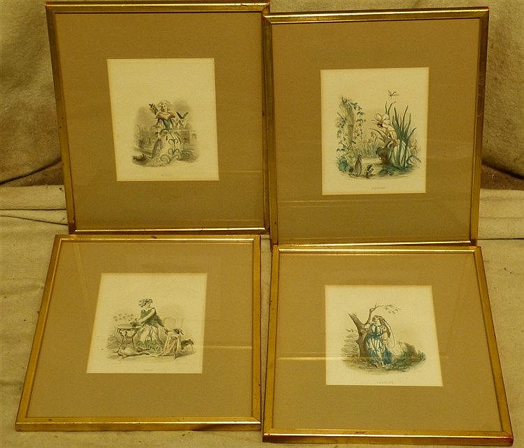 A Set of 4 Continental Coloured Prints