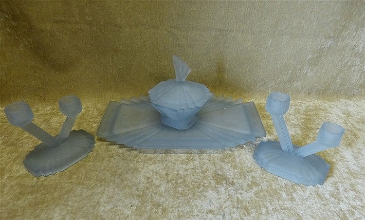 An Art Deco Bagley Frosted Blue Glass 4-Piece Dressing Table Set,