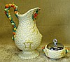 A Clarice Cliff Harvest Pattern Bulbous Jug, 28cm high, also a si