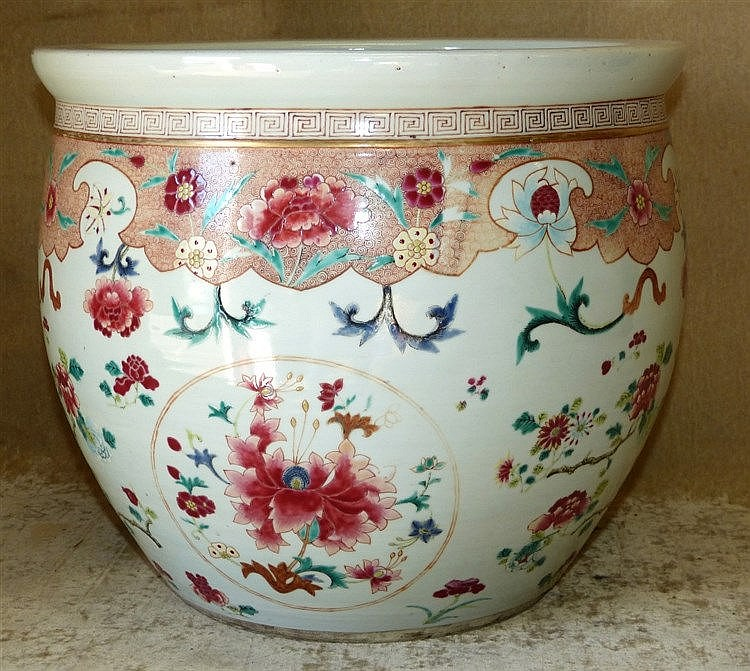 A 19th Century Chinese Bulbous Jardinière having coloured floral,