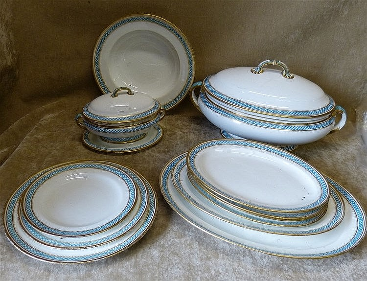A Mintons Dinner Service on white ground having turquoise and gil