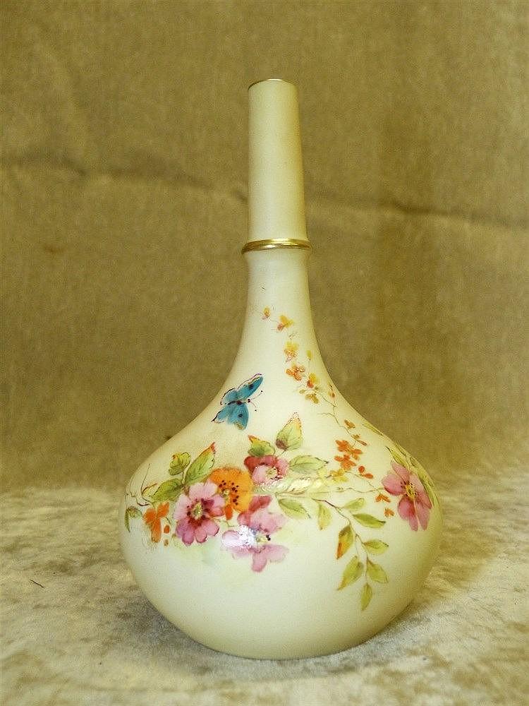 A Grainger Royal Worcester Bulbous Thin Neck Blush Tulip Vase hav