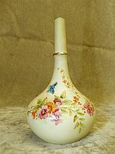 A Grainger Royal Worcester Bulbous Thin Neck Blush Tulip Vase hav