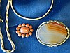 An Oval Moss Agate Brooch, a Coral Small Brooch, 2 chains and a b