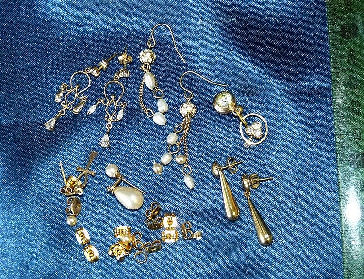 A Pair of 9ct Gold Drop Earrings and 2 other pairs of drop earrin