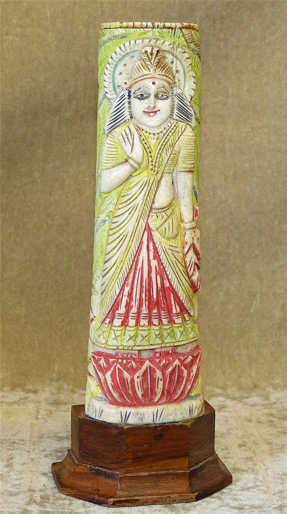 A 19th/20th Century Indian Painted Ivory Figure of a Lady on hard