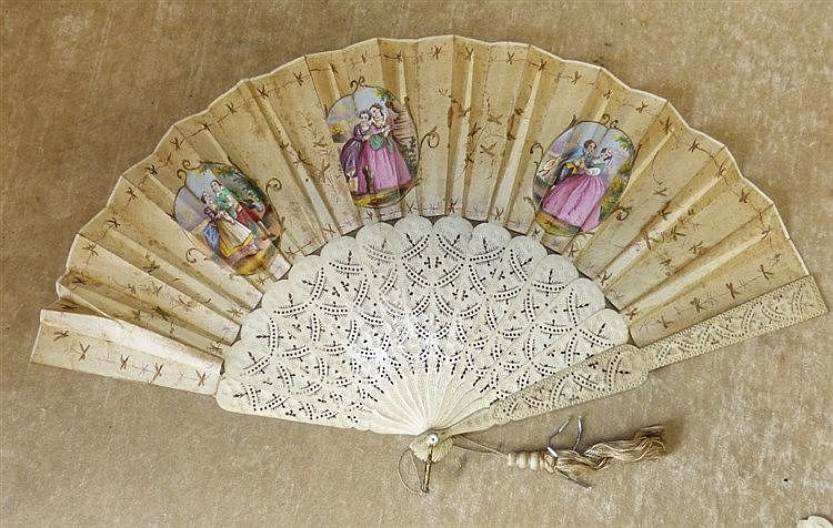 A Carved Bone Fan having pierced decoration, 3 panels of lovers e
