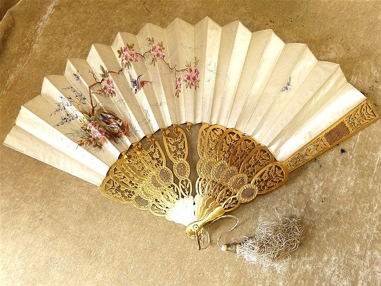 A Painted Silk Fan with pierced carved wooden slats depicting bir