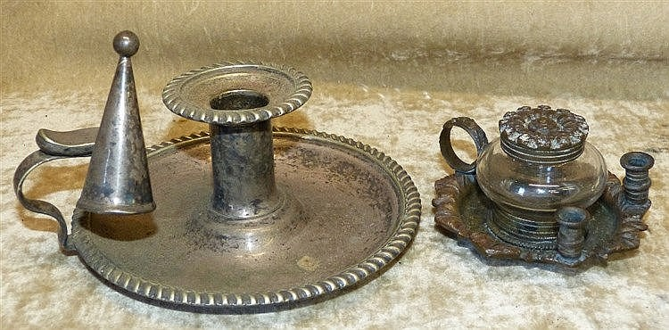 A Small Bronze Ink Stand with ring handle, 2 pen holders set with