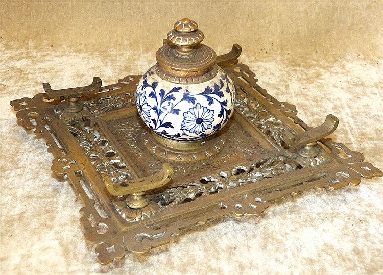 A Square Brass Ink Stand having pierced and scalloped decoration,