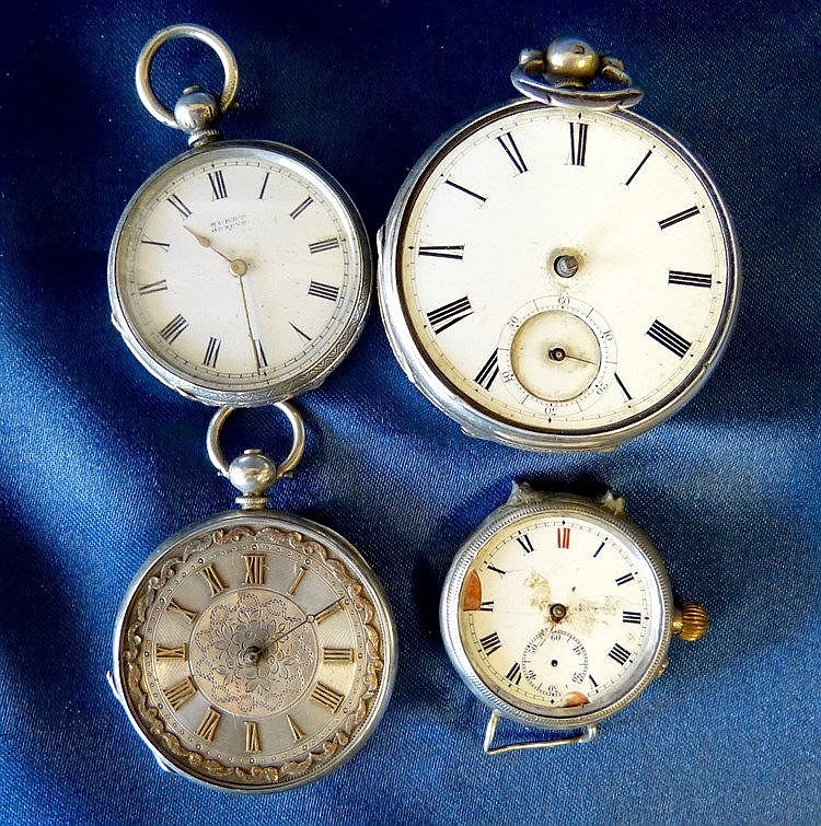 A Silver Muret Fob Watch and 3 other silver watches (in need of r