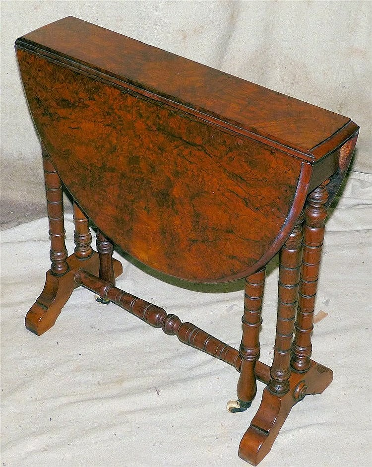 A Victorian Burr Walnut Oval Drop-Leaf Sutherland Table on Bobbin