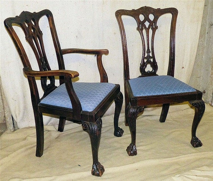A Set of 8 Early 20th Century Mahogany Chippendale Style Dining C
