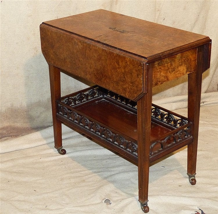 A Burr Walnut Drop Leaf Tea Trolley on square tapering legs with