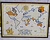 A Needlework Map dated 1937, in oak frame, 39cm x 50cm