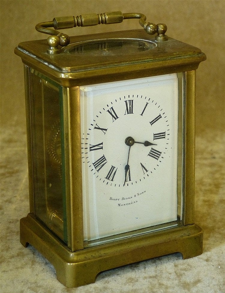 Henry Birks & Sons, Montreal Brass Carriage Clock having swing ov