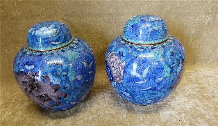 A Pair of Cloisonné Bulbous Ginger Jars with Covers on blue groun