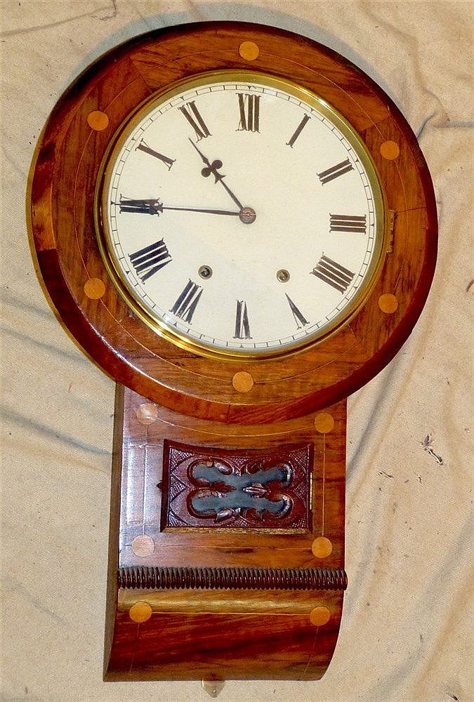 A 19th Century Walnut Round Drop Dial Hanging Wall Clock with inl