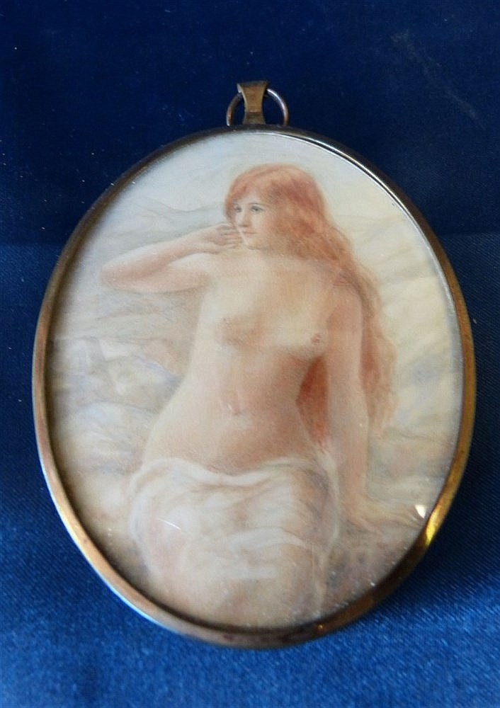 G Owen Oval Miniature 3/4 Length Portrait of a seated female nude