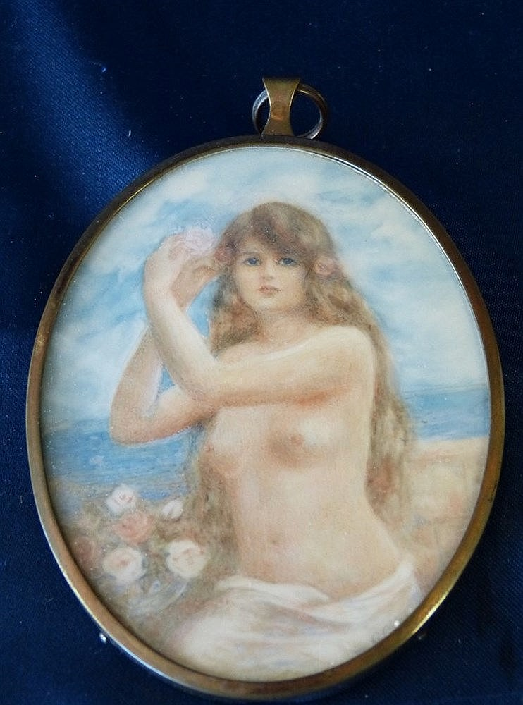 G Owen Oval Miniature half length portrait of a female nude in be