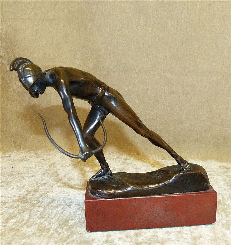 Otto Schmidt-Hofer Bronze Figure of an Archer on rectangular shap