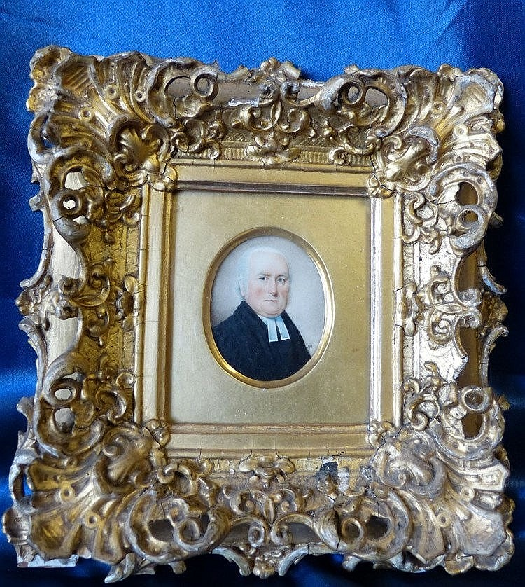 JH 19Th Century Oval Miniature Shoulder Length Portrait of a gent