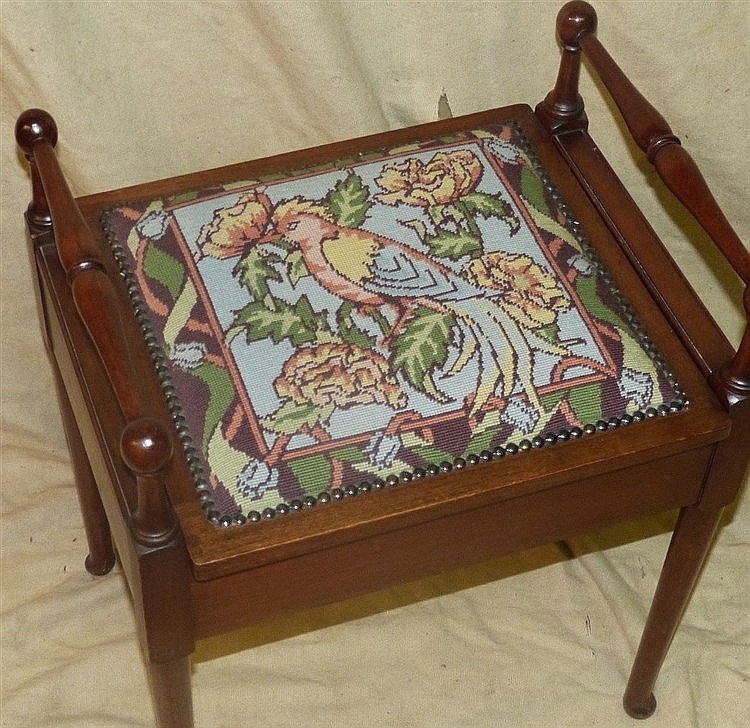 A Mahogany 2-Handled Piano Stool having needlework overstuffed se