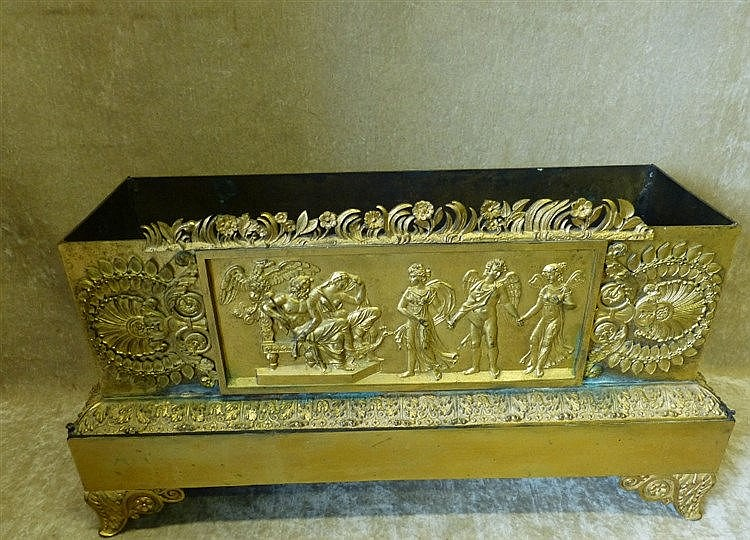 A 19th Century Ormolu Rectangular Jardinière having embossed and
