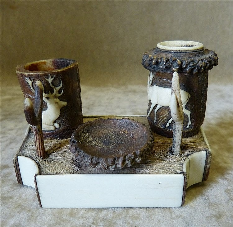 A 19th Century Ivory and Horn Austrian Style Inkwell on rectangul