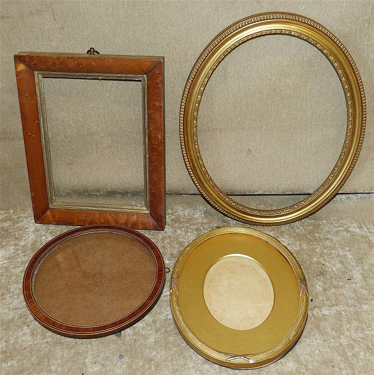 A Circular Mahogany and Inlaid Frame. a walnut small frame and 2