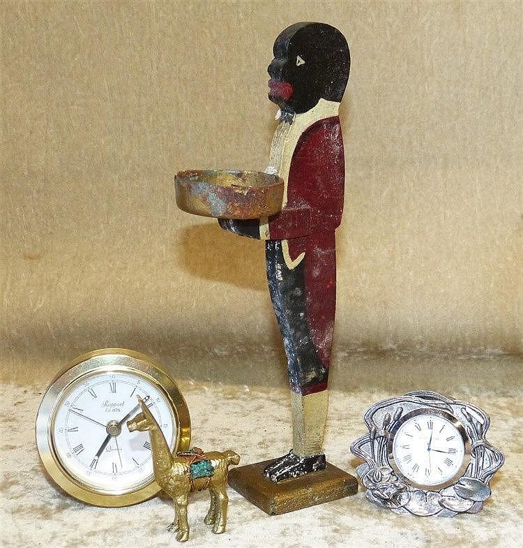 A Miniature Wooden Blackamoor Ashtray, 21cm high, a small brass f
