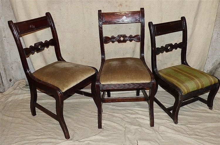 A Set of 6 19th Century Mahogany Single Dining Chairs having carv