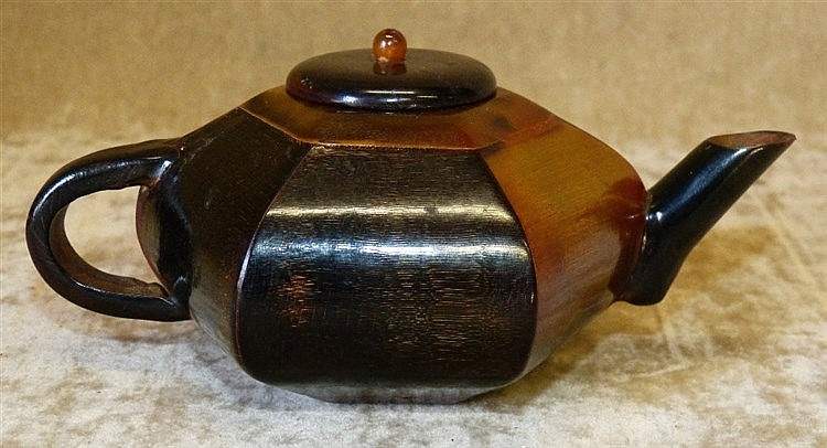 A Horn Oriental Hexagonal Shape Small Teapot, 15cm long overall