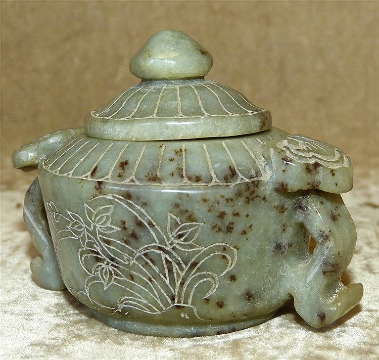 An Oriental Jade Style Bulbous Shape 2-Handled Lidded Censer havi
