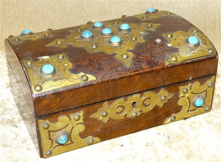 A 19th Century Burr Walnut Arch Top Sewing Box having raised gilt