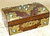 A 19th Century Burr Walnut Arch Top Sewing Box having raised gilt