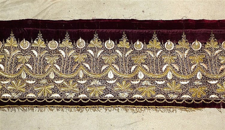 A Gold Thread Long Panel on red velvet having floral, leaf and sc