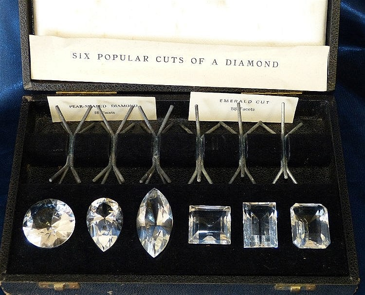 A Cased Jewellers Display depicting 6 popular cuts of diamonds
