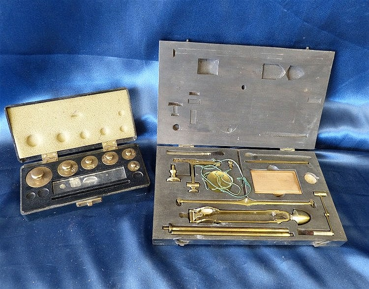 A Set of Brass Collapsible Balance Scales, cased, also a set of c