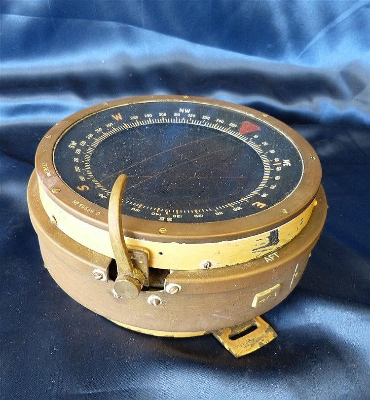 A Navel Type P 4 Brass and Metal Ships Compass, 19cm diameter