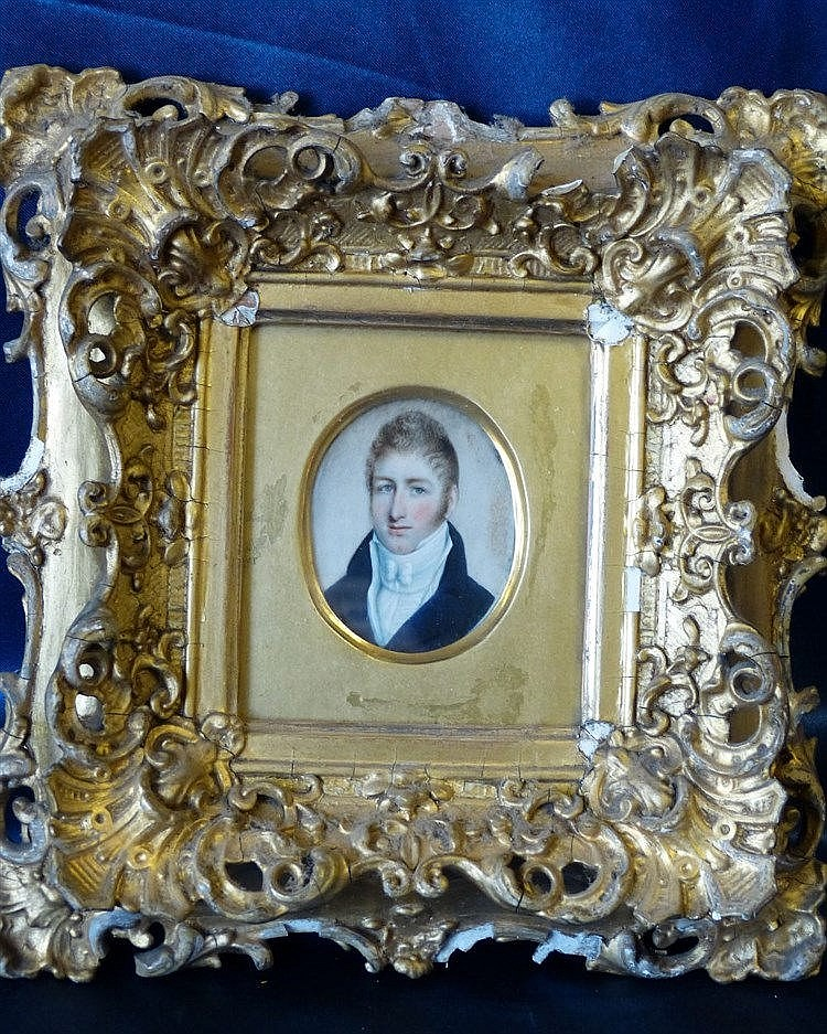 A 19th Century Oval Miniature Shoulder Length Portrait of a young