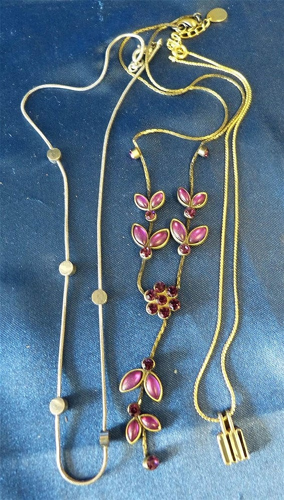 A Floral Drop Necklace mounted with purple stones, also 2 other n