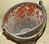An Early Leather Oval Trumpet Shape Bucket depicting ship motif (