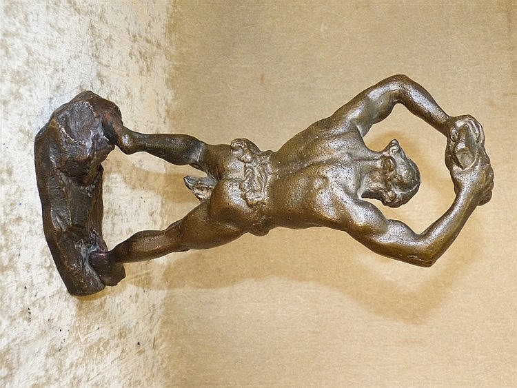 A Bronze Figure of a Hercules holding rock above his head, 26cm h